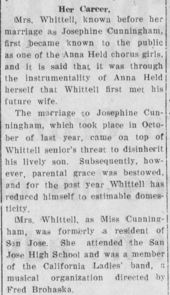 Josephine Cunningham 1905 article