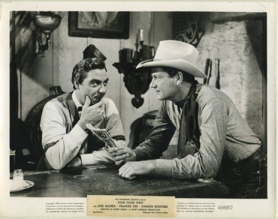 Joseph Calleia and Joel McCrea in Four Faces West