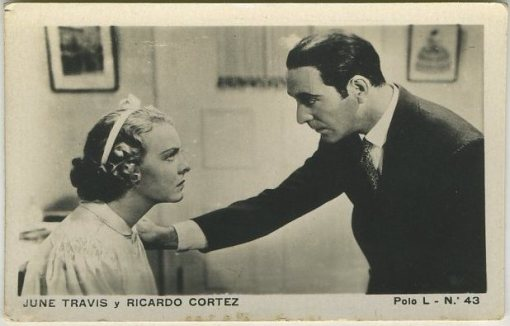 June Travis and Ricardo Cortez Polo L Card