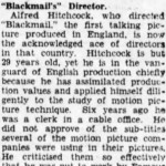 Clipping: Alfred Hitchcock Acknowledged as Ace of British Directors, 1929