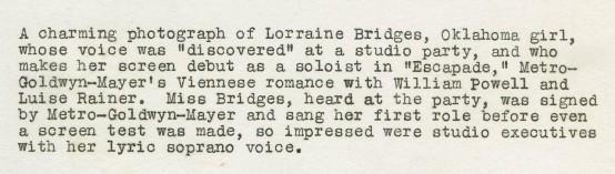 Lorraine Bridges 1935 MGM Promotional Portrait caption