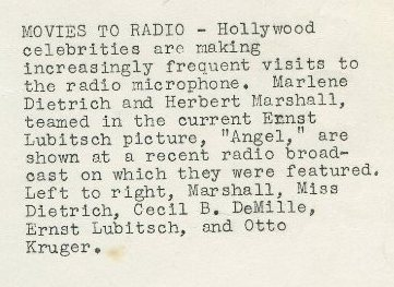 Marlene Dietrich and company Angel 1937 caption
