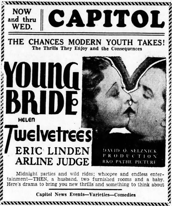 Young Bride 1932 newspaper advertisement