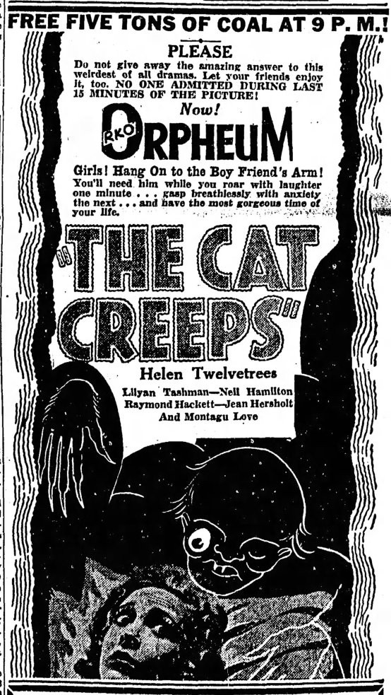 The Cat Creeps 1930 newspaper ad