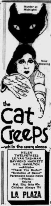 The Cat Creeps advertisement found in The Independent of St Petersburg FL December 4 1930 page 8