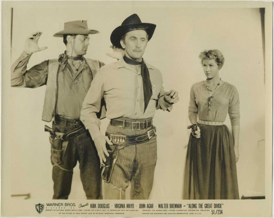 John Agar, Kirk Douglas, and Virginia Mayo in Along the Great Divide