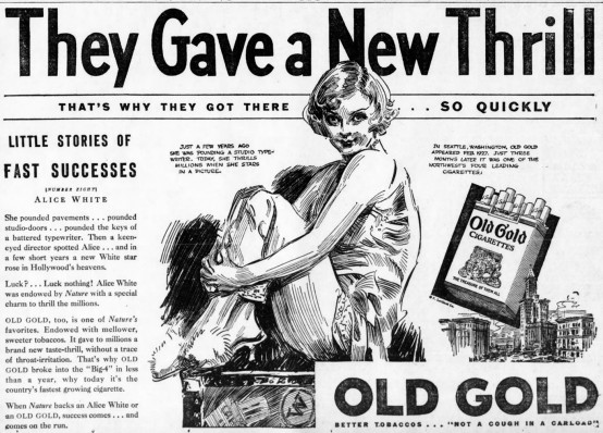Alice White August 1930 Old Gold ad