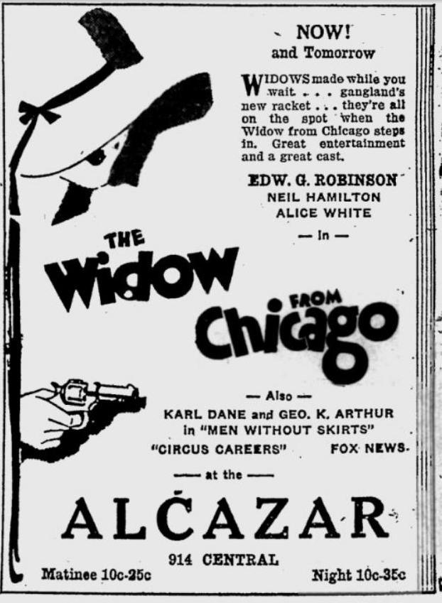 The Widow from Chicago newspaper ad