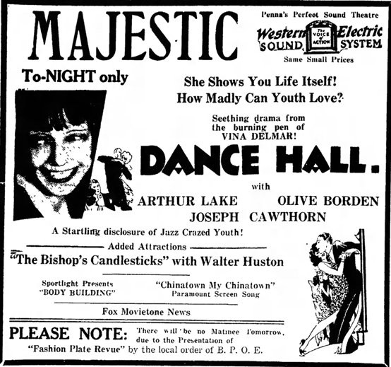 Dance Hall 1930 Advertisement
