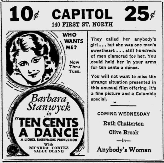 Ten Cents a Dance newspaper ad