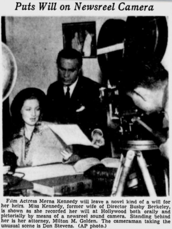 Merna Kennedy Puts Will on Film 1938