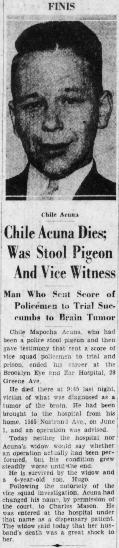 Chile Acuna obituary 23 June 1932