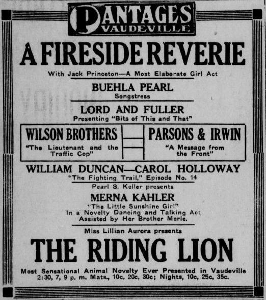 Merna Kahler 1917 advertisement