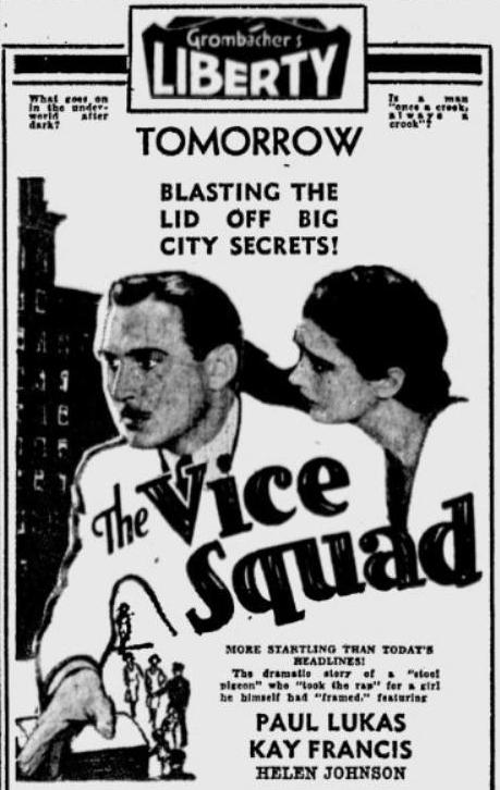 The Vice Squad advertisement, Spokane Daily Chronicle, 11 July 1931