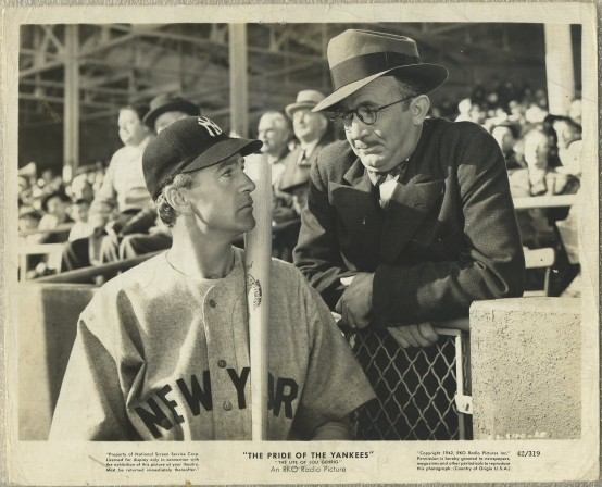 Gary Cooper and Walter Brennan in The Pride of the Yankees