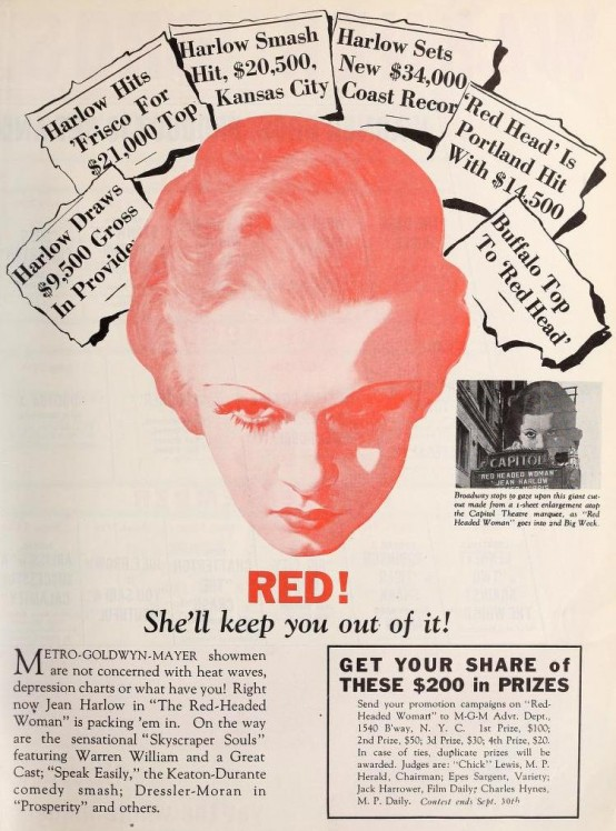 Above: Red-Headed Woman trade advertisement, Motion Picture Herald, July 16, 1932.