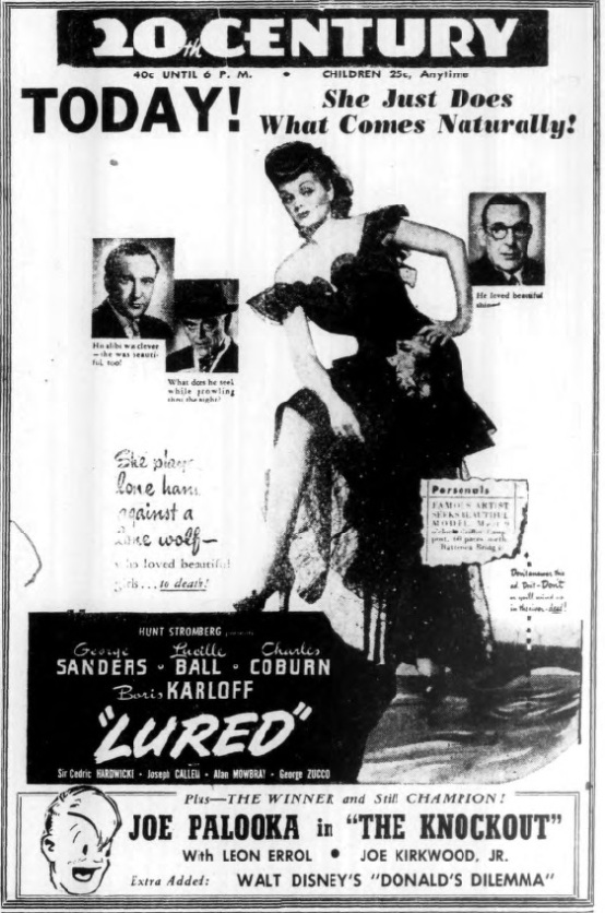 Lured 1947 newspaper advertisement
