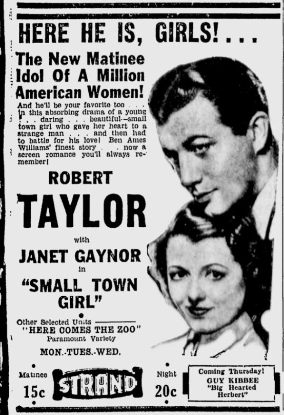 Small Town Girl 1936 newspaper ad