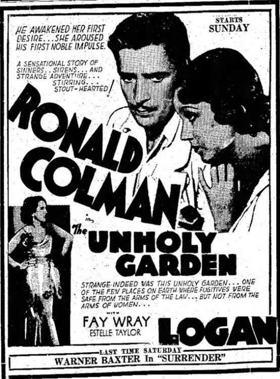 The Unholy Garden 1931 newspaper ad