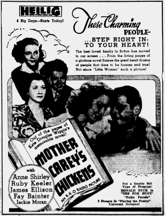 Mother Carey's Chickens 1938 newspaper ad
