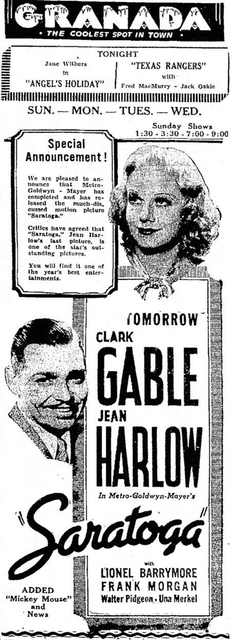 Saratoga 1937 newspaper ad