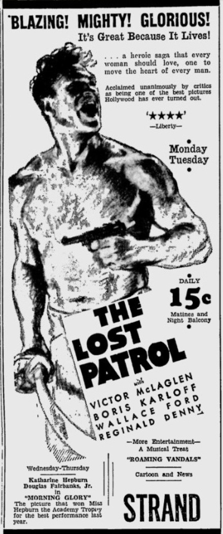 The Lost Patrol 1934 advertisement