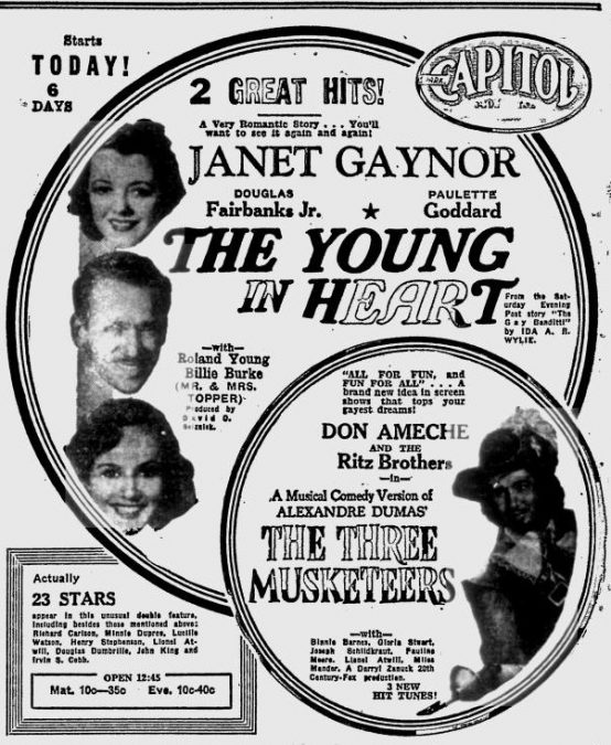The Young in Heart 1939 newspaper ad
