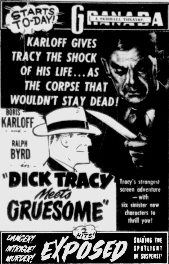Dick Tracy Meets Gruesome 1947 newspaper ad