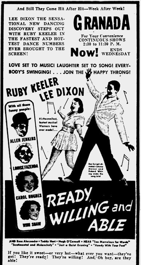 Ready Willing and Able 1937 newspaper ad