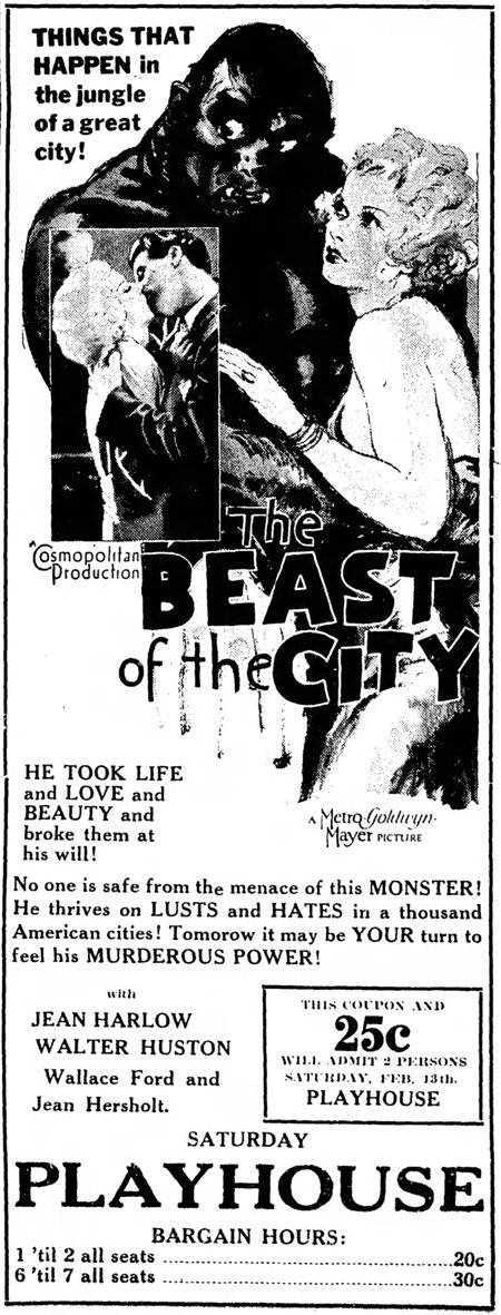 The Beast of the City 1932 newspaper ad