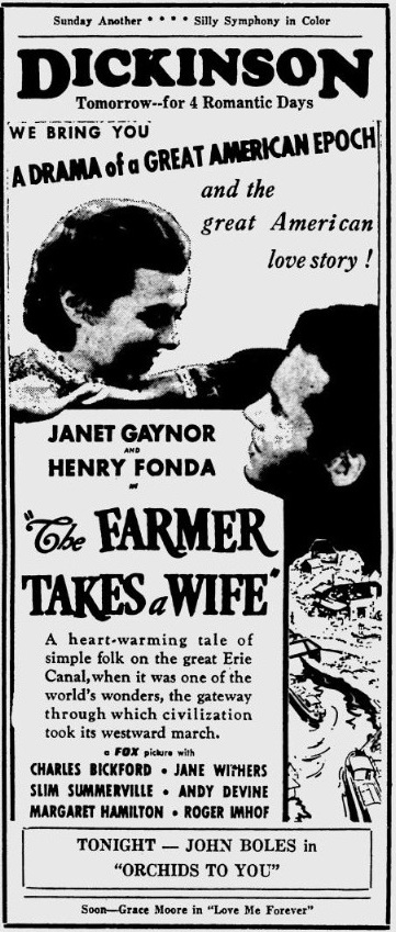 The Farmer Takes a Wife 1935 newspaper ad