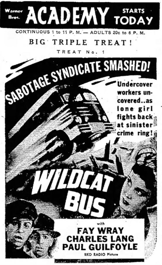 Wildcat Bus 1940 newspaper ad