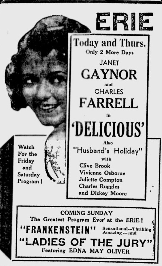 Delicious 1932 newspaper movie ad