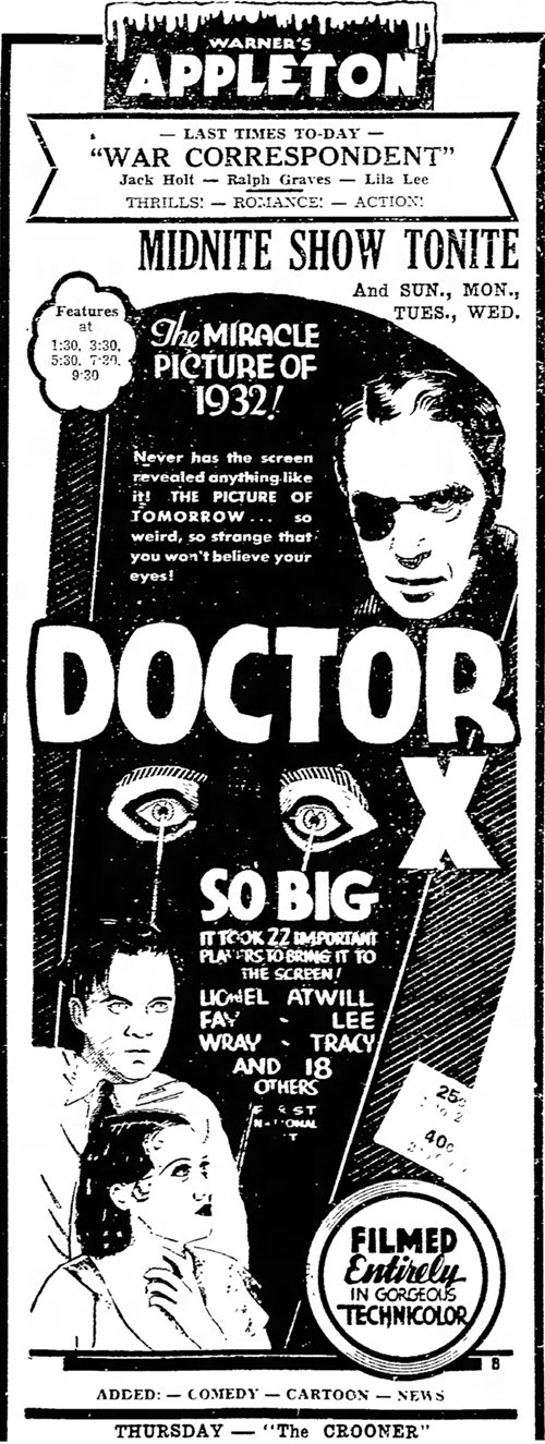 Doctor X 1932 newspaper ad