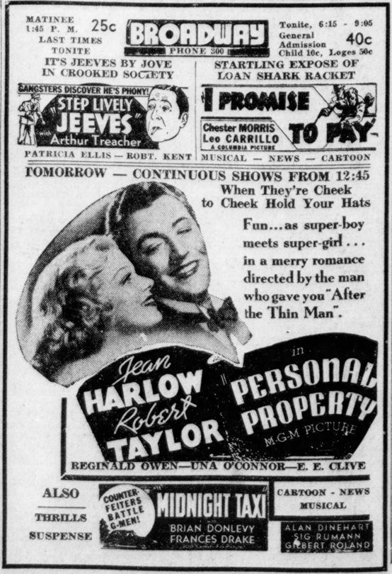 Personal Property 1937 newspaper ad