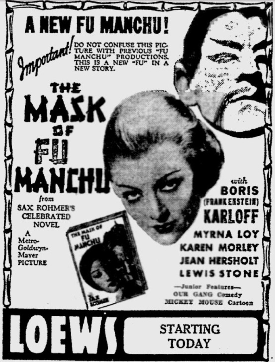 The Mask of Fu Manchu 1932 newspaper ad
