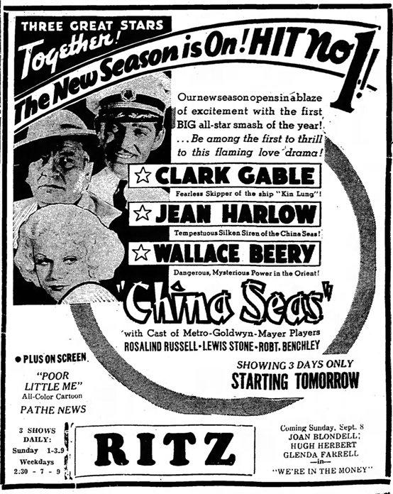 China Seas 1935 newspaper ad