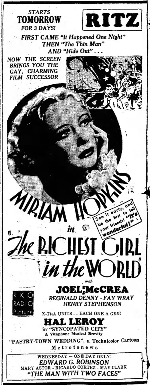 The Richest Girl in the World 1934 newspaper ad