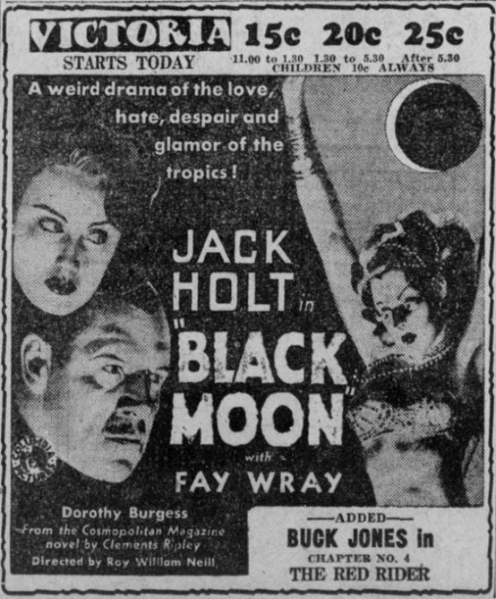 Black Moon 1934 newspaper ad