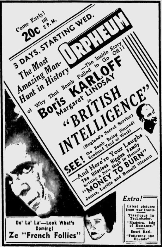 British Intelligence 1940 newspaper ad