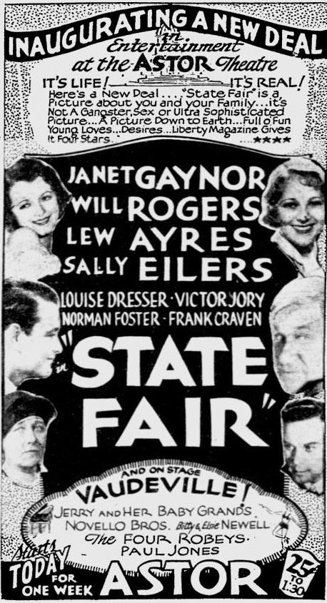 State Fair 1933 newspaper movie ad