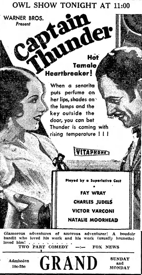 Captain Thunder 1932 newspaper ad