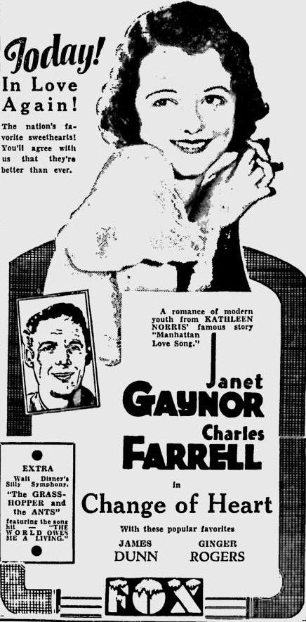 Change of Heart 1934 newspaper ad