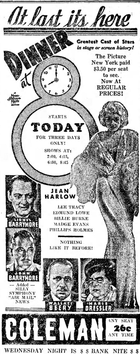 Dinner at Eight newspaper ad