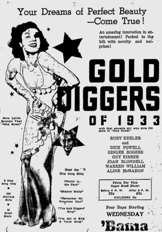 Gold Diggers of 1933 newspaper ad