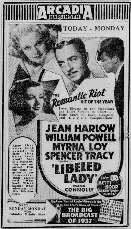 Libeled Lady 1936 newspaper ad