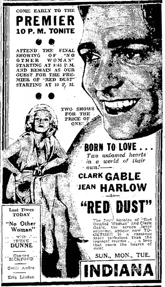 Red Dust 1933 newspaper ad