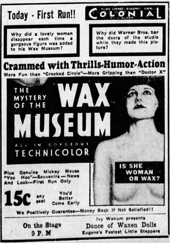 The Mystery of the Wax Museum 1933 newspaper ad