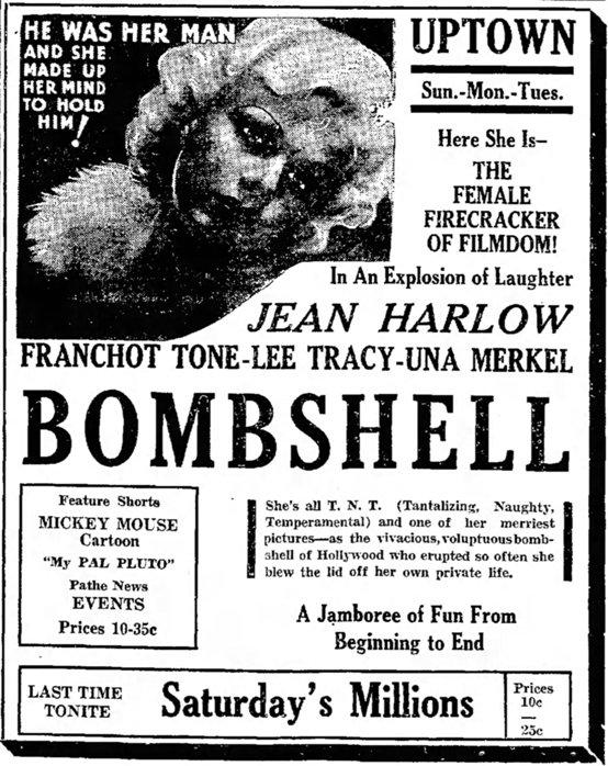 Bombshell 1933 newspaper ad