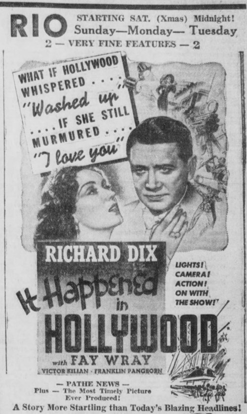 It Happened in Hollywood 1937 newspaper ad